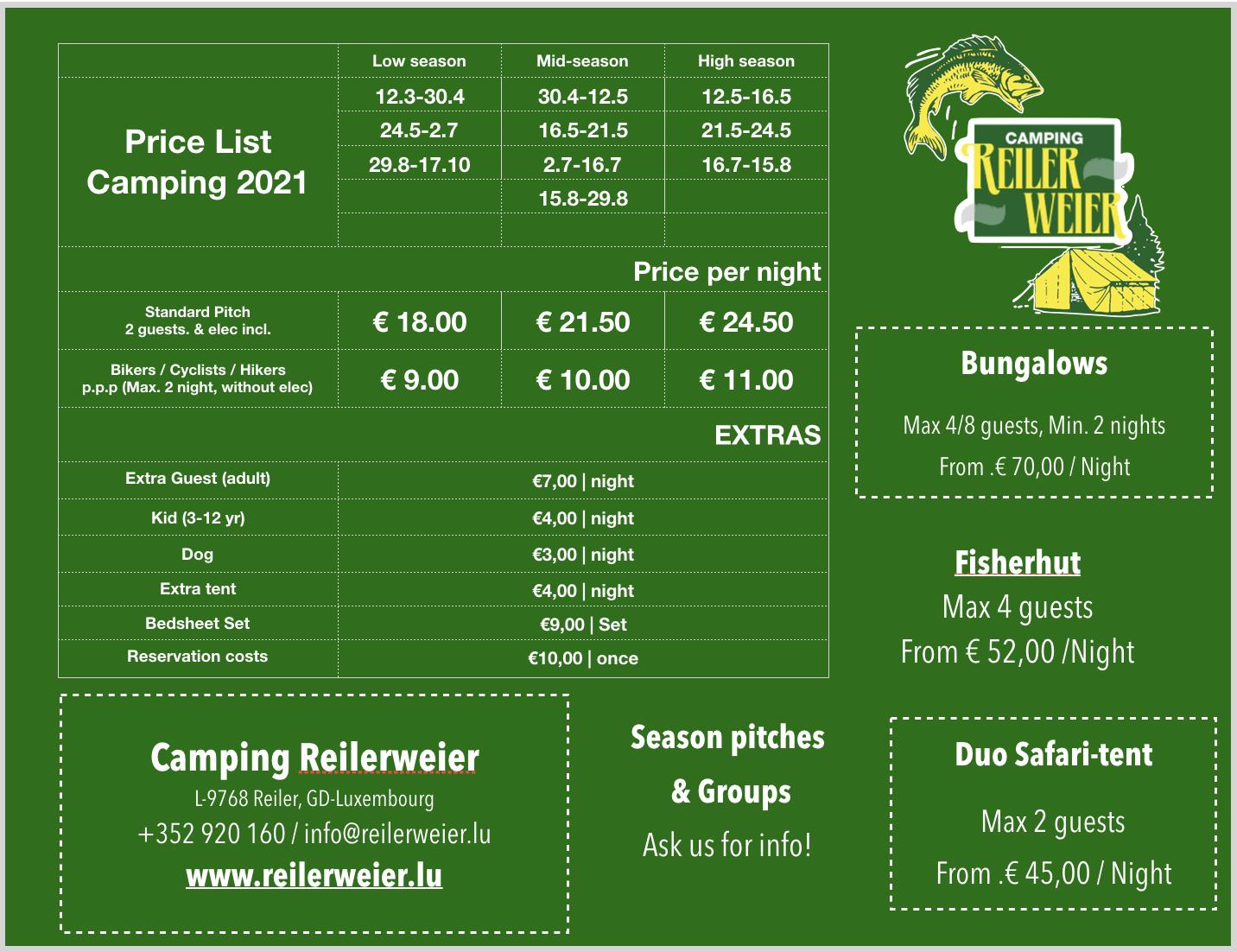 Pricing Camping 2021 EN